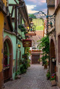 Riquewihr Side Street by Bobrad