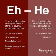 Diferencia eh-he ¡Eh, tú, es lo que te he dicho antes! Spanish Vocabulary, Spanish Grammar, Spanish Words, Spanish Teacher, Spanish Classroom, Spanish Language, Spanish Lessons, Teaching Spanish, Spelling