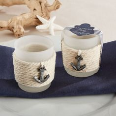 Dreamily sail away with baby shower guests thanks to these rope tealight holders.