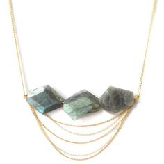Fresh Tangerine: Regency Necklace Labradorite