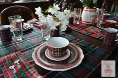 Set of 4 Wonderful Tartan Plaid Dinner plates Perfect for your Scottish, English or Holiday table! Red, Olive Green & Black plaid with white face and gold rim. Perfect layered with black, red or sage
