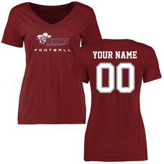 Eastern Kentucky Colonels Women's Personalized Football Slim Fit T-Shirt - Maroon - $37.99