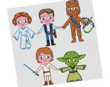 Luke, Yoda, Leia,  Han Solo, Chewbacca Parody - Cross stitch Pattern PDF -  Boy Girl Movie, Pixel People,Chidren Gift Instant Download