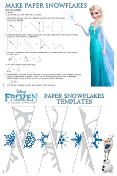 Frozen Paper Snowflake Craft with Free Printable Instructions Paper Snowflake Template, Snowflake Craft, Paper Snowflakes, Paper Snowflake Patterns, Snowflake Printables, How To Make Snowflakes, Snowflake Party, Paper Stars, Christmas Snowflakes