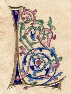 Lettrine L, Bible d'or Style gothique, XV ème siècle Anne… Cool Lettering, Lettering Design, Hand Lettering, Illuminated Letters, Illuminated Manuscript, Alphabet Art, Calligraphy Letters, Medieval Art, Monogram Letters