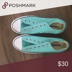 Teal converse No laces worn twice Converse Shoes Sneakers