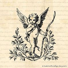 Shop Vintage French Valentine cherub postcard created by GIFTSBYHEATHERMYERS. Cupid Tattoo, Baby Angel Tattoo, Dream Tattoos, Future Tattoos, Tattoo Oma, Irezumi, Angel Art, Skin Art, Beautiful Tattoos