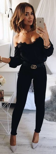 #winter #outfits black jeans