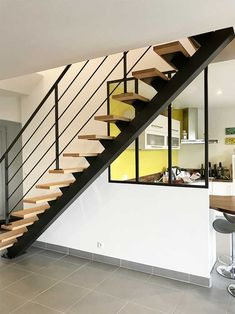 Grand Staircase, Staircase Design, Escalier Design, Stairways, Sweet Home, Living Room, Interior Design, Architecture, Metal Wood