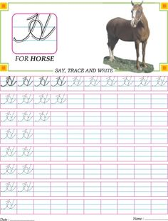 Cursive capital letter A-Z practice worksheet | Download Free ...