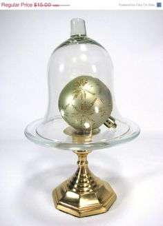 SALE Glass and Brass Cloche Upcycled Home Decor by SpinTilYurDizzy, $13.50