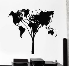 Wall Stickers Vinyl Decal World Map Earth Lands Tree Cool Decor from $21.99
