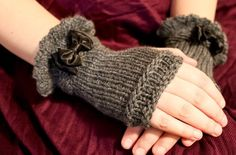 knitted fingerless gloves.