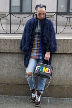 Catch Up on All of NYFW's Best Street Style From Last Season Day 5 Fendi bag.
