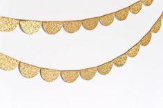 Scalloped Glitter Garland Gold by stephlovesben on Etsy