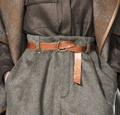 grey felted wool pants, brown felted wool shirt & multi-earth-toned felted wool coat w/leather trim