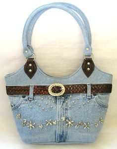 NEW-BLUE DENIM JEAN+BROWN LEATHERETTE,ACCENTS+SILVER TONE CHARMS HAND BAG,PURSE