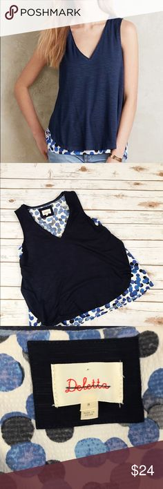 NEW Anthropologie Deletta Blue Weekdays Tank Blue tank top with polka dot blue & white layering. Item is NEW WITHOUT TAGS From deletta in anthropologie! FLAWS: none. SIZING: true to size. Feel free to make me an offer OR bundle your likes & I'll send you a personal offer!💕💕 Anthropologie Tops Tank Tops