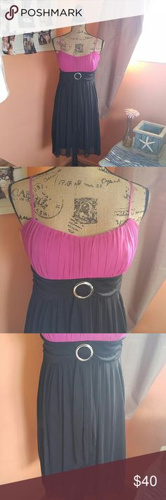 💟🌺Homecoming/spring formal dress Size large dress purchase from Macy's Ruby Rox brand size large. This will fit a girl between the sizes of a 14 or 16. My daughter wore it to homecoming it's a beautiful dress. The color is a deep rich pink color and black! Ready to sell no stains no holes no rips no tears. No low-ball offers and no Trading Ruby Rox Dresses Prom