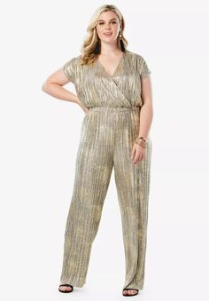 You're party-ready in this metallic jumpsuit with a wide-leg silhouette and allover pleating. Two hidden snaps at the front and an elastic waist allow for Image Fb, Gold Jumpsuit, Metallic Jumpsuits, Plus Size Cocktail Dresses, Plus Size Jumpsuit, Beauty Full, Special Occasion Dresses, Wide Leg, Legs