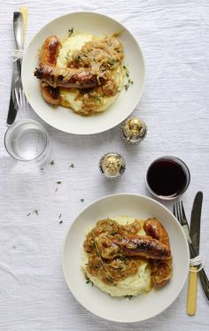 British Bangers and Mash with Onion Gravy -- True pub fare.  Add some healthy to your day with Old London. oldlondonfoods.com #bangersandmash #britishfood #recipe