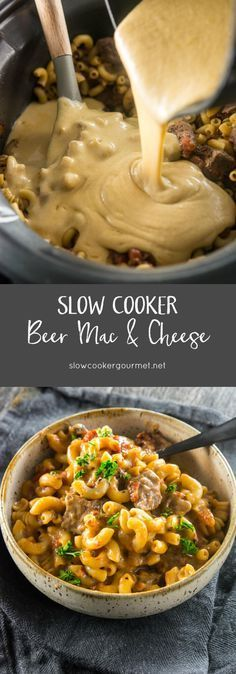 Slow Cooker Beer Mac & Cheese is a grown up twist on a classic family favorite! So delicious, creamy and rich you'll never look at mac & cheese the same way again! #beerparty