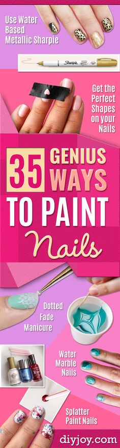 Easy Ways to Paint Nails - Quick Tips and Tricks for Manicures at Home - Nail Designs and Art Ideas for Simple DIY Pedicures and Manicure at Home - Hacks and Tutorials with Cool Step by Step Instructions and Tutorials - DIY Projects and Crafts by DIY JOY http://diyjoy.com/easy-ways-to-paint-nails
