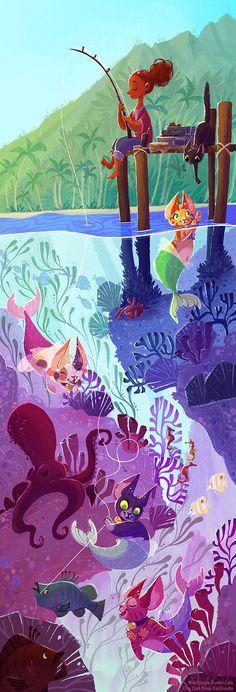 https://www.kickstarter.com/projects/kikidoodle/the-purrmaid-a-mermaid-cat-plush/  Kikidoodle's mermaid cat plush!  Inspirational fishing image!