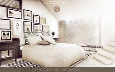 Scandinavian Bedroom  • DOWNLOAD: Windows / Bed / End Table / Small Plant / Pictures / Rug / Stairs / Ceiling / Blanket / Pillows 1 | 2 / Books / Bench / Candles / Wall and Floor - EA