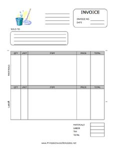 A printable invoice for use by a maid, housekeeper, or janitorial firm, featuring a color graphic of a mop and pail. It has spaces to note quantity, unit, item, price, and more, separated by materials and labor. It is available in PDF, DOC, or XLS (spreadsheet) format. Free to download and print