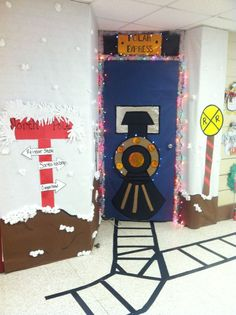 christmas classroom door decorations. I Love The Railroad Tracks, Mailbox, And RR Crossing Extras That This Teacher Added To Her Classroom Door Display. Christmas Decorations