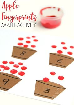 apple counting activity for preschoolers Kids will love this Apple Fingerprint Math Activity that is perfect for building fine motor development and math skills this Fall. via will love this Apple Fingerprint Math Activity that is perfect f Counting Activities For Preschoolers, Preschool Lessons, Autumn Activities, Preschool Learning, Kindergarten Math, Montessori Preschool, Montessori Elementary, Elementary Teaching, Preschool Education