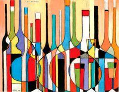 Robert Tatin - Composition aux bouteilles, Paris . 1977 - Gouache 50x65