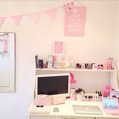 I love how this area has room for makeup and studying.