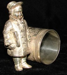 19TH C. MERIDIAN SILVERPLATED NAPKIN RING BOY BOOKS HAT COAT DRAGONFLIES