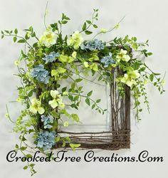 Hydrangea/Wildflower Square Twig Wreath