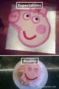 Expectations Vs Reality: 30 Of The Worst Cake Fails Ever - Funny Troll & Memes 2019 Funny Vine Compilation, New Funny Videos, Viral Videos, Funny Images, Funny Photos, Peppa Pig Memes, Bad Cakes, Design Fails, Expectation Vs Reality