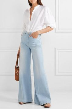 Light-blue denim Button and concealed zip fastening at front cotton, polyester, elastane Designer wash: Ferry Equipment Blouse, Denim Fashion, Fashion Outfits, Christian Louboutin, Look Jean, Alexander Mcqueen, Jeans Outfit Summer, Casual Chic Style, 70 Style