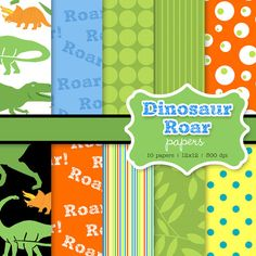 INSTANT DOWNLOAD dinosaur roar digital papers on Etsy, $5.59 AUD