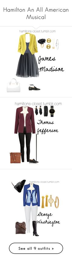 Hamilton An All American Musical by sophia-makes-things on Polyvore featuring Chicwish, Rebecca Minkoff, Nach Bijoux, Sydney Evan, Tiffany & Co., Michael Kors, Gucci, Alexander McQueen, Theory and The Row