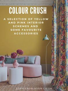Interior designer and colour queen Sophie Robinson continues her colour crush feature and this time looks combining pink and yellow Yellow Wall Decor, Yellow Walls, Interior Rugs, Scandinavian Interior Design, Sophie Robinson, Yellow Accessories, Little Greene, Happy Colors, Color Inspiration