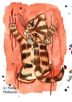 Original Cat Art Watercolor Painting Original Illustration Cat Painting Cat Illustration Little Watercolor Cat Gift for Cat Lover Cat Art Watercolor And Ink, Watercolor Paintings, Watercolors, Original Artwork, Original Paintings, Animal Paintings, Figurative Art, Cat Art, Paper Art