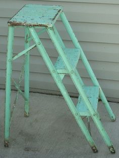 Vintage Aqua Turquoise Metal Step Ladder by diantiques on Etsy