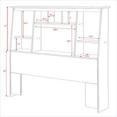 Prepac Slant-Back Espresso Tall Queen/Double Bookcase Headboard