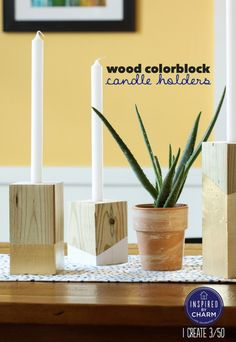 wood & gold colour block candle holders