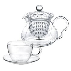 Tea Beyond Gift set GFS2015 Glass Teapot Fairy (W/glass strainer, use as pitcher or glass teapot HEAT RESISTANT  NON DRIPPING)  2 sets of 5 oz Glass Teacup  saucer F