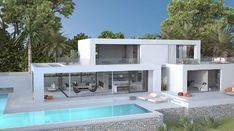 House 4 - Seasites Morden House, House Plans South Africa, Modern House Floor Plans, Modern Villa Design, Casas Containers, House Rooms, House 2, Home Building Design, Modern Architecture House