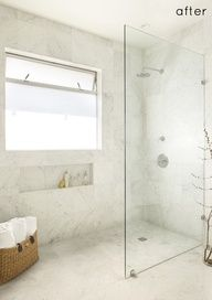 before  after bathroom remodel, via design sponge what a huge difference! If the glass panel was a big paned window, it would be perfect! Love the walk in shower!!!