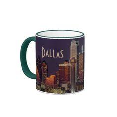 Dallas Skyline at Night Ringer Mug