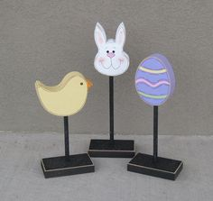 3 Tall Standing EASTER Themed Block SET for Easter by lisabees